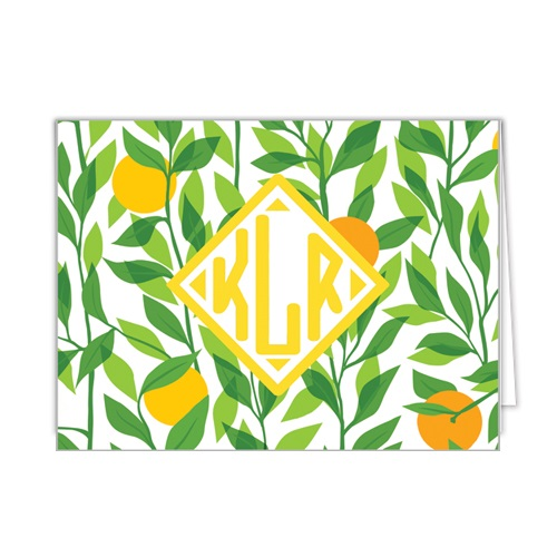 Monogram Folded Note Cards Citrus by WH Hostess