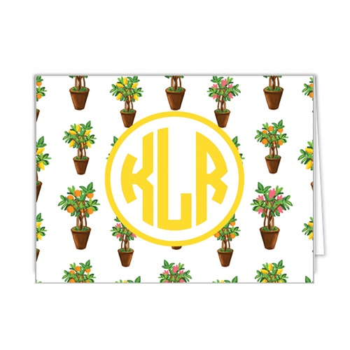 Monogram Folded Note Cards Citrus Topiary by WH Hostess