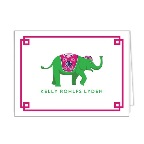 Monogram Folded Note Cards Elephant Green by WH Hostess