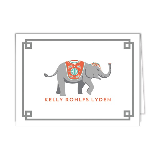 Monogram Folded Note Cards Elephant Grey by WH Hostess