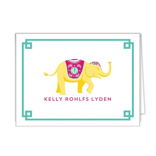 Monogram Folded Note Cards Elephant Yellow by WH Hostess