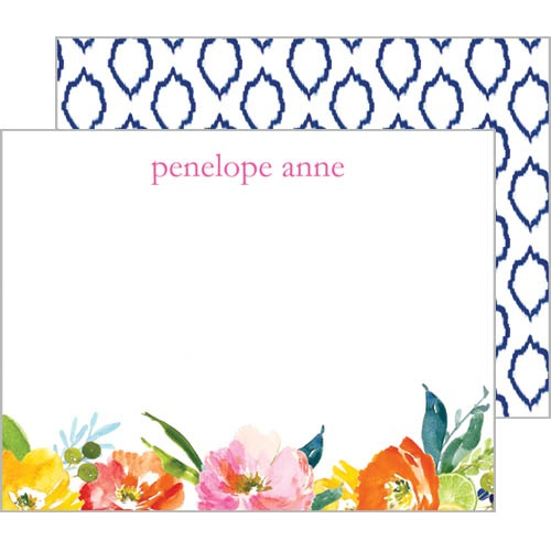 Monogram Flat Note Cards Floral Ikat