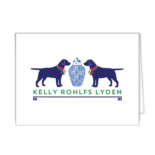 Monogram Folded Note Cards Ginger Jar & Dogs by WH Hostess