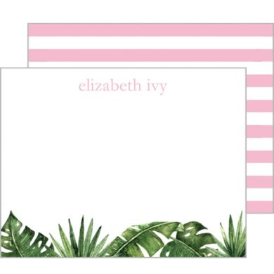 Monogram Flat Note Cards Palm Leaves & Cabana Stripes