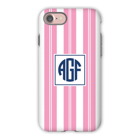 Monogram iPhone 7 / 7 Plus Case - Vineyard Stripe Raspberry by Boatman Geller
