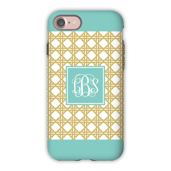 Monogram iPhone 7 / 7 Plus Case - Parker Border Aqua by Boatman Geller