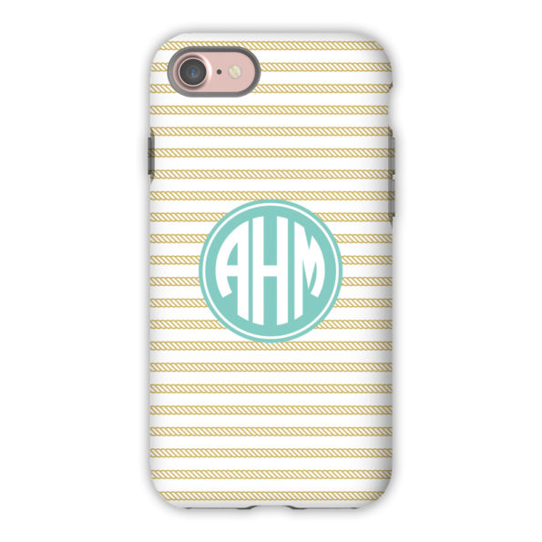 Monogram iPhone 7 / 7 Plus Case - Rope Stripe Gold by Boatman Geller