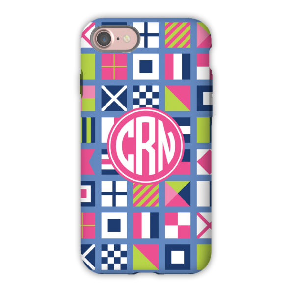 Monogram iPhone 7 / 7 Plus Case - Nautical Flags Pinks by Boatman Geller