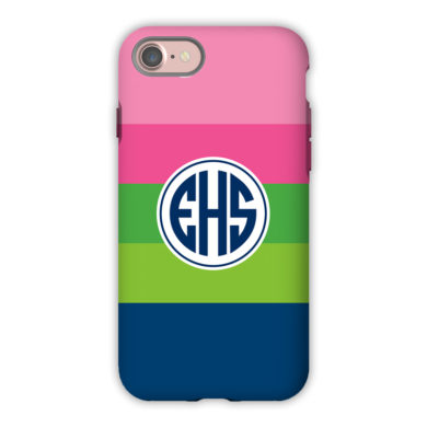 Monogram iPhone 7 / 7 Plus Case - Bold Stripe Pink & Navy by Boatman Geller