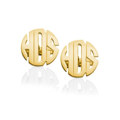 Monogram Cuff Links Three Letter Block - Gold