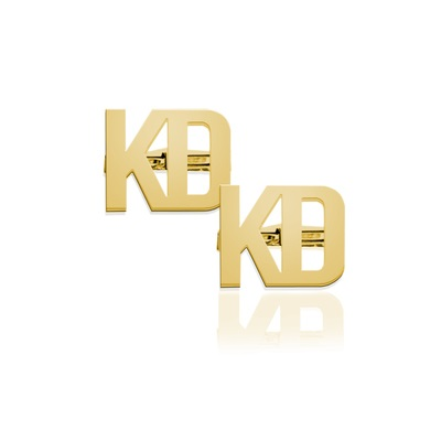 Monogram Cuff Links Two Letter Block - Gold