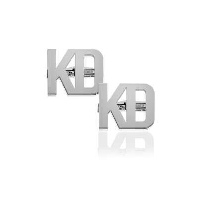 Monogram Cuff Links Two Letter Block - Sterling Silver
