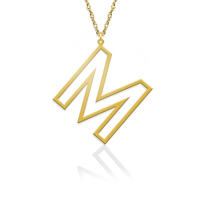 Open Letter Initial Necklace - Gold