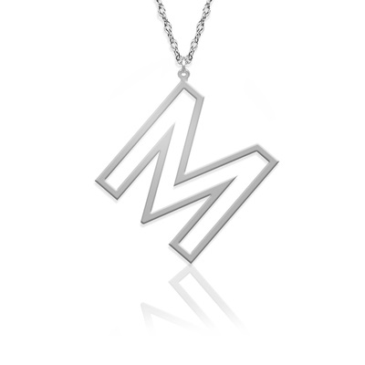 Open Letter Initial Necklace - Silver