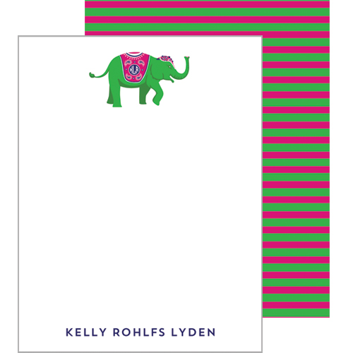 Monogram Flat Note Cards Elephant - Green