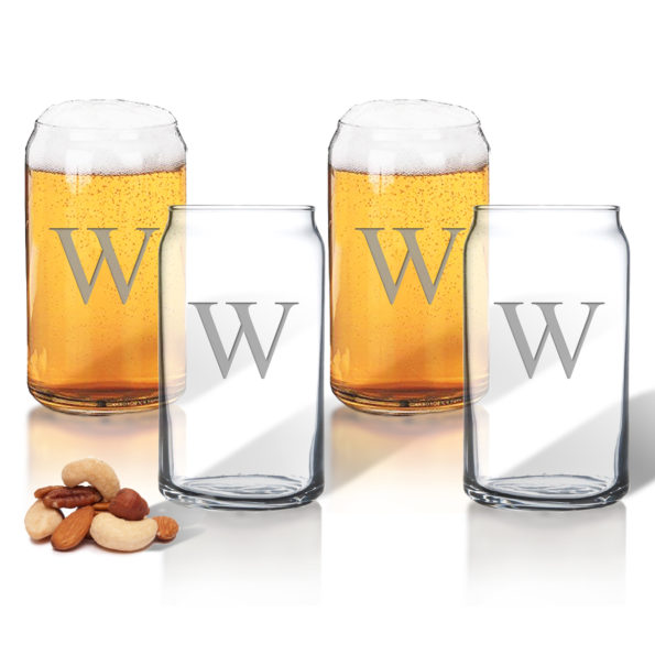 Monogram Beer Can Glasses - Set of 4