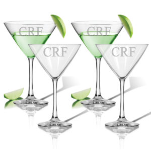 Monogram Martini Cocktail Glasses - Set of 4
