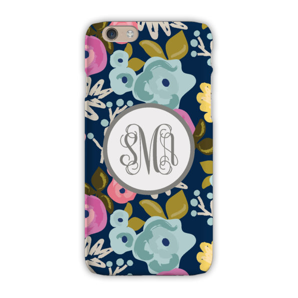 Monogram iPhone 7 / 7 Plus Case - Bloom Navy - Clairebella