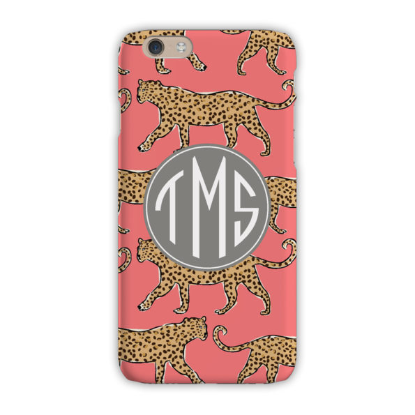 Monogram iPhone 7 / 7 Plus Case - Leopard Coral - Clairebella