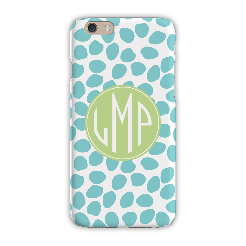 Monogram iphone 8 8 plus case organic dots aqua for Clairebella