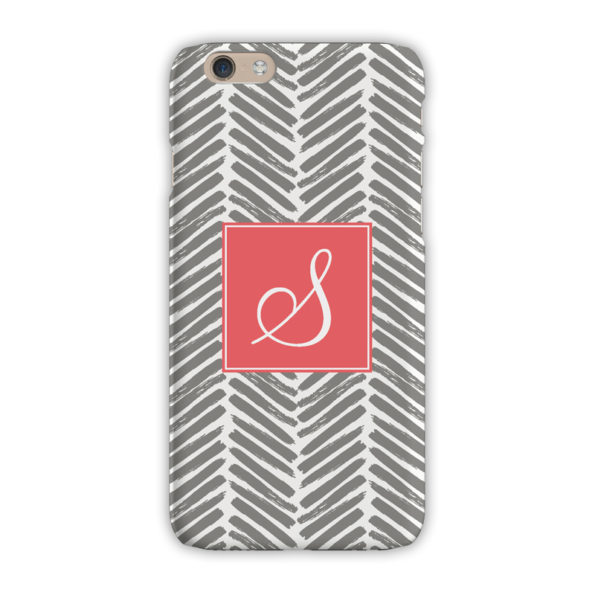 Monogram iPhone 7 / 7 Plus Case - Herringbone Grey - Clairebella