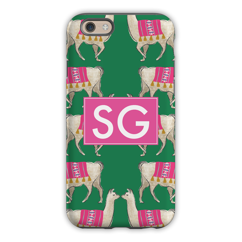 Monogram iphone 8 8 plus case llama green clairebella for Clairebella