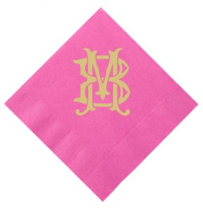 Gold Foil Monogrammed Cocktail Napkins
