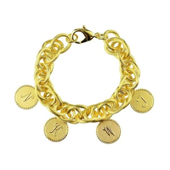 Charm Bracelet with Four Small Gold Charms