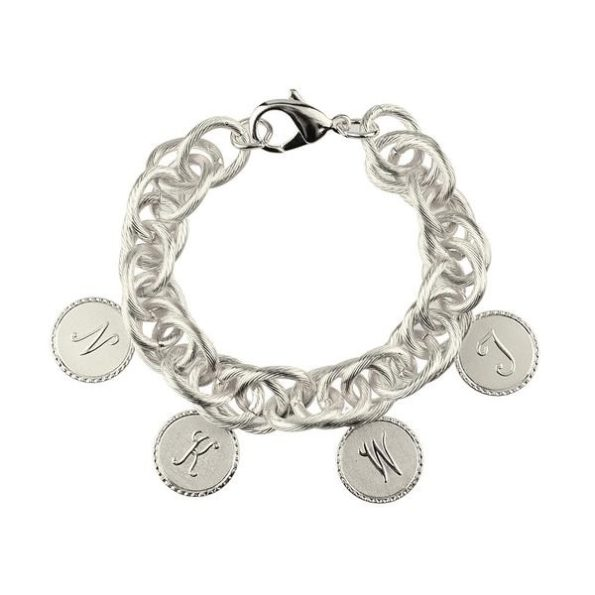 Silver Charm Bracelet with Four Small Charms