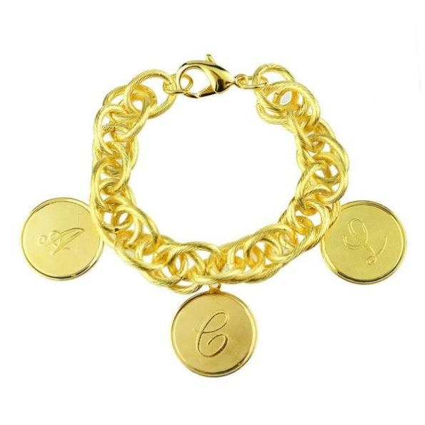 Gold Bracelet with Three Medium Charms