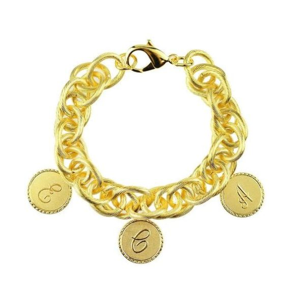 Gold Bracelet with Three Small Charms