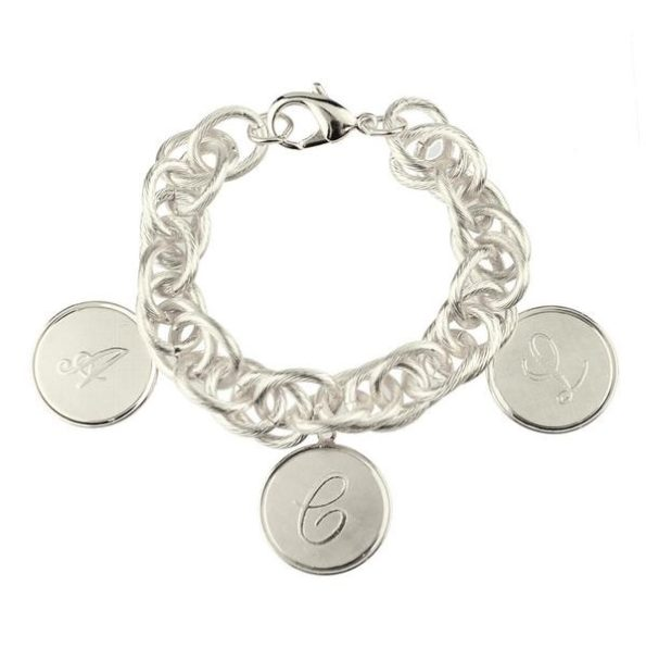 Silver Bracelet with Three Medium Charms