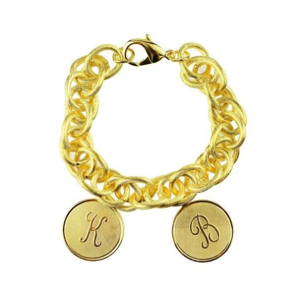 Gold Bracelet with Two Medium Charms
