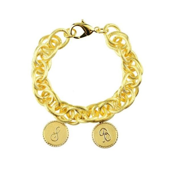 Gold Bracelet with Two Small Charms