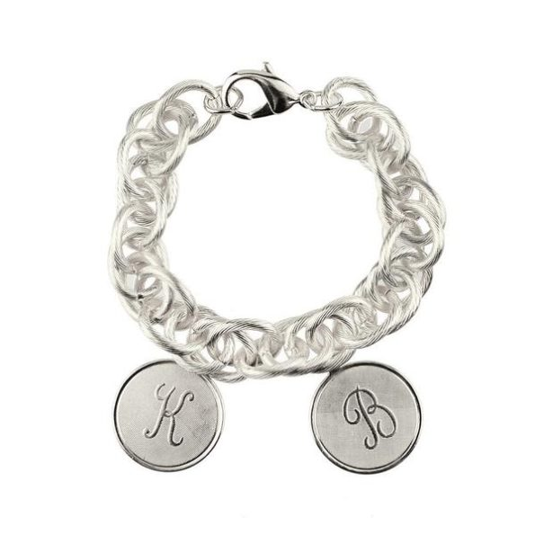 Silver Bracelet with Two Medium Charms