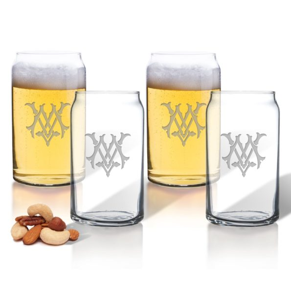 Monogram Chic Beer Can Glasses - Set of 4
