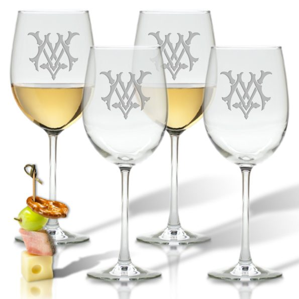 Monogram Chic Wine Glasses - Set of 4