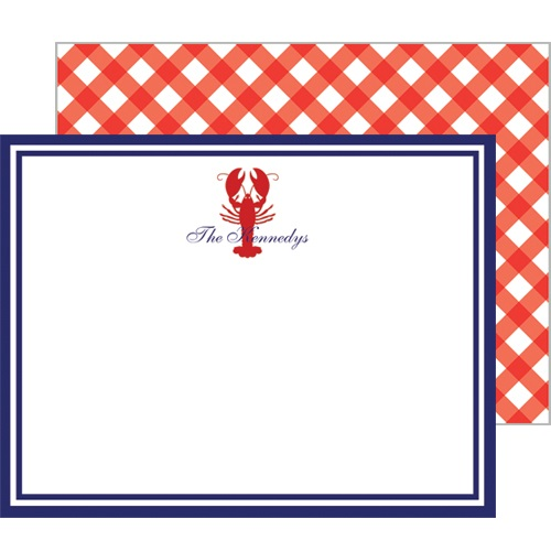 Monogram Flat Note Cards Lobster Gingham - WH Hostess