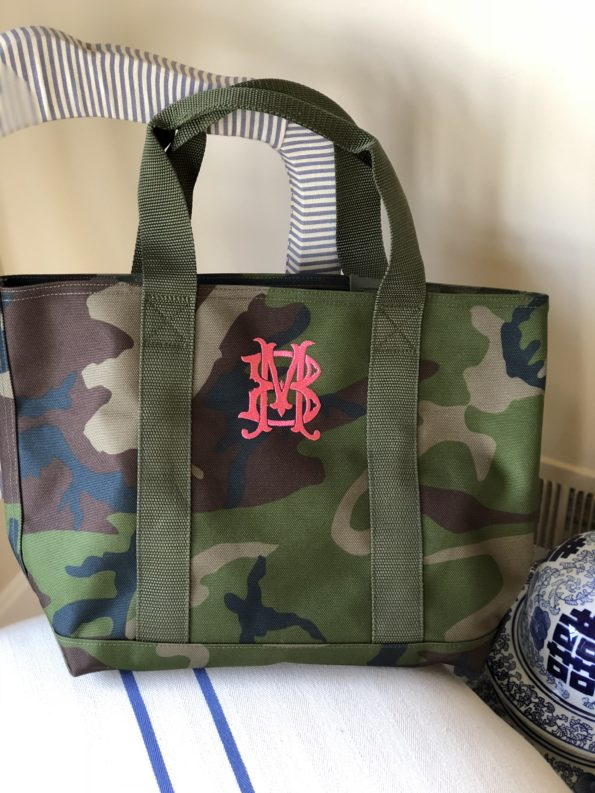 Monogrammed Camo Boat and Tote
