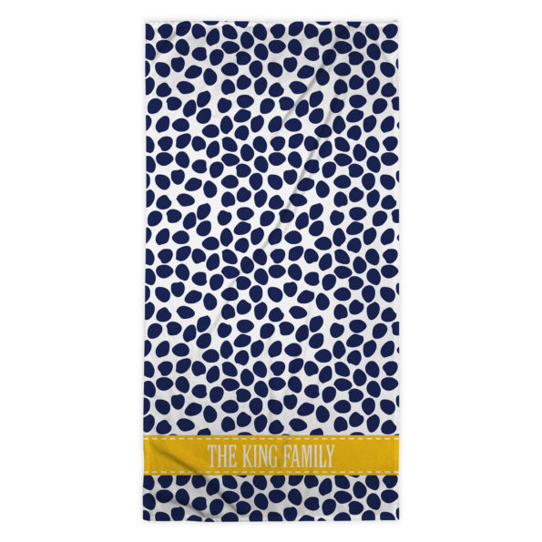 Monogram Beach Towel – Organic Dots Deep Navy – Clairebella