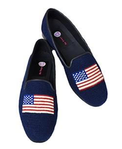 American Flag Ladies Needlepoint Loafer - By Paige
