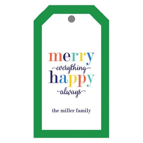 Monogram Gift Tag Merry Everything Happy Always - WH Hostess