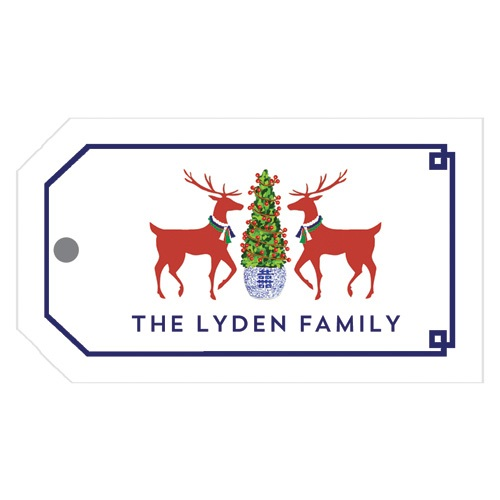 Monogram Gift Tag Reindeer Boxwood - WH Hostess