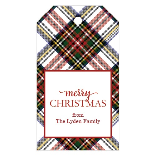 Monogram Gift Tag White Stewart Plaid - WH Hostess