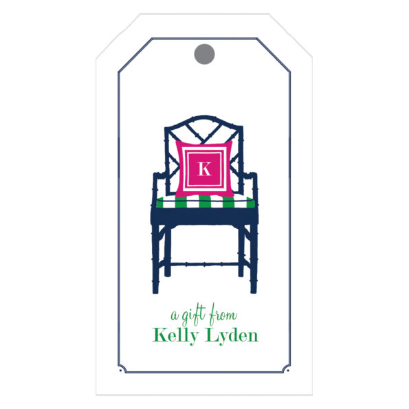 Monogram Gift Tag Bamboo Chair - WH Hostess