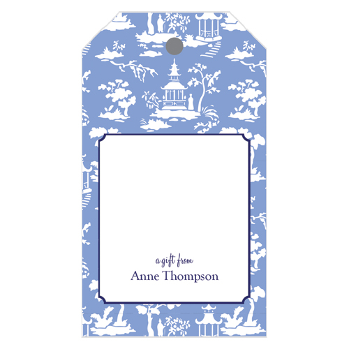 Monogram Gift Tag Chinoiserie Toile - WH Hostess