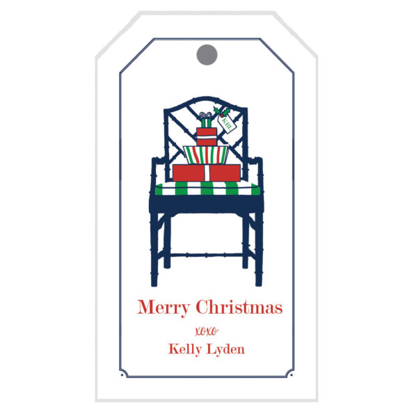 Monogram Gift Tag Christmas Bamboo Chair - WH Hostess