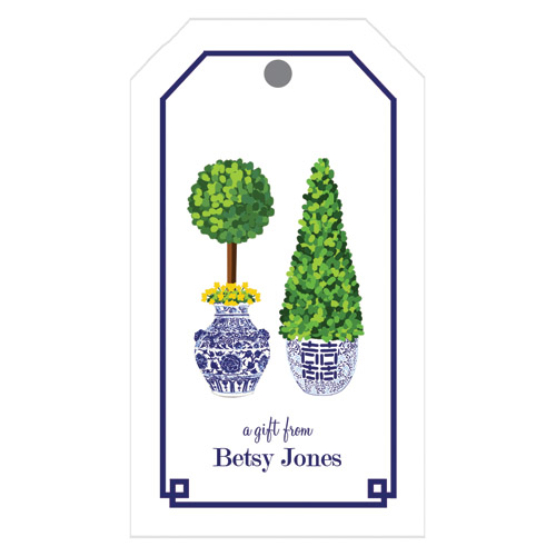 Monogram Gift Tag Chinoiserie Topiary - WH Hostess