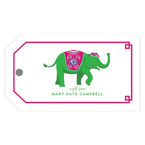 Monogram Gift Tag Elephant Green - WH Hostess