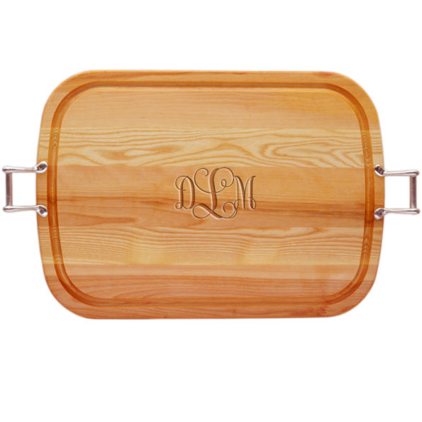 Script Monogrammed Wood Cutting Board with Handles